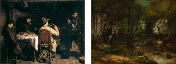 7. Gustave Courbet, After Dinner at Ornans, 1848–49. Oil on canvas, 195 × 257 cm. Musée des Beaux-Arts, Lille. 8. Gustave Courbet, The Stream of the Puits-Noirs, Valley of the Loue, 1855. Oil on canvas, 104 x 137 cm. National Gallery of Art, Washington D.C.