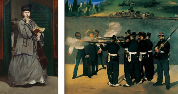 9. Édouard Manet, Street Singer, ca. 1862. Oil on canvas, 171 x 106 cm. Museum of Fine Arts, Boston. 10. Édouard Manet, The Execution of Maximilian, 1868–69. Oil on canvas, 252 × 302 cm. Staedtische Kunsthalle, Mannheim.