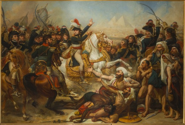Fig. 2. Antoine-Jean Gros, enlargements by August-Hyacinthe Debay, The Battle of the Pyramids (Bataille des Pyramides, 21 juillet 1798), 1810. Oil on canvas, 389 x 311 cm. Musée national des châteaux de Versailles et de Trianon, Versailles.
